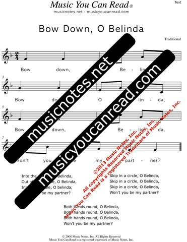 """Bow Down, O Belinda"" Lyrics, Text Format"