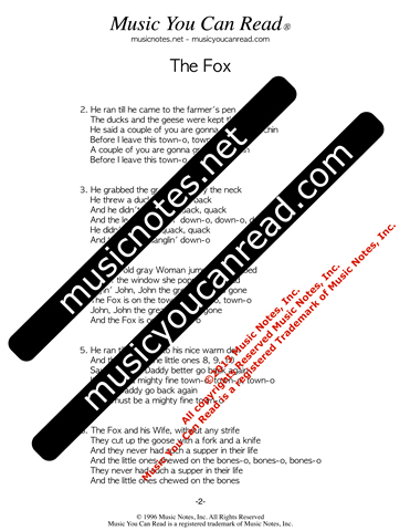 """The Fox"" Lyrics, Text Format"