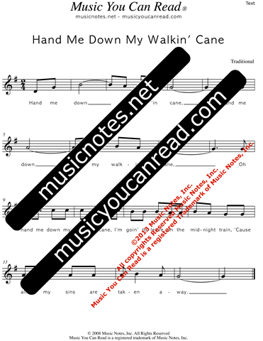 """Hand Me Down My Walkin' Cane"" Lyrics, Text Format"