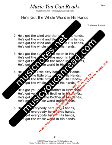 """He's Got the Whole World in His Hands"" Lyrics, Text Format"