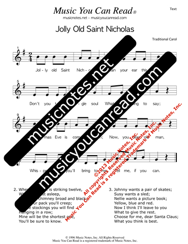 """Jolly Old Saint Nicholas"" Lyrics, Text Format"