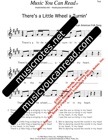 """There's a Little Wheel a Turnin',"" Lyrics, Text Format"
