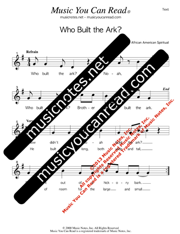 """Who Buil the Ark?,"" Lyrics, Text Format"
