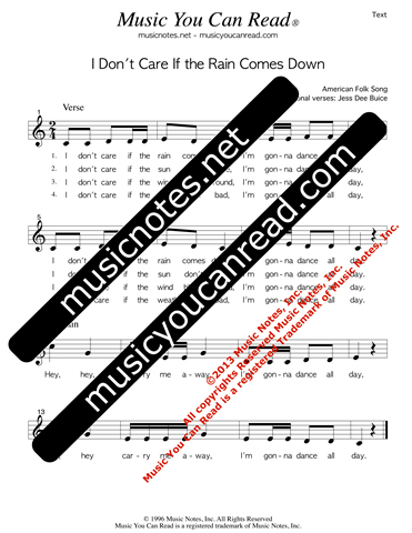 """I Don't Care if the Rain Comes Down,"" Lyrics, Text Format"
