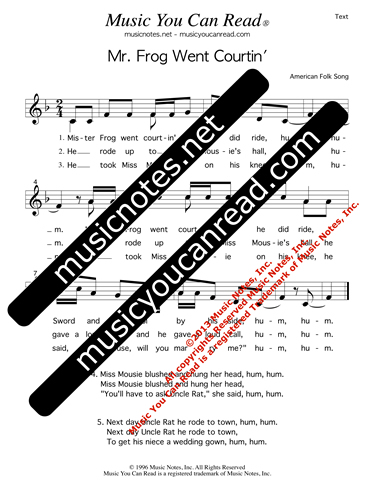 """Mr. Frog Went Courtin',"" Lyrics, Text Format"
