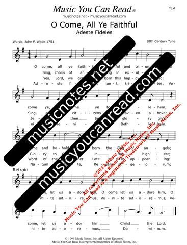 O come all ye faithful lyrics music notes inc music you can o come all ye faithful lyrics text format m4hsunfo