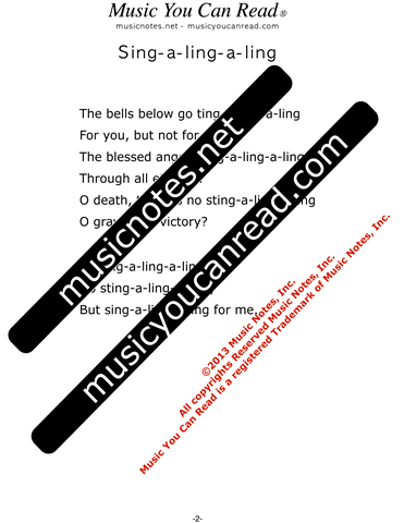 """Sing-a-ling-a-ling,"" Lyrics, Text Format"
