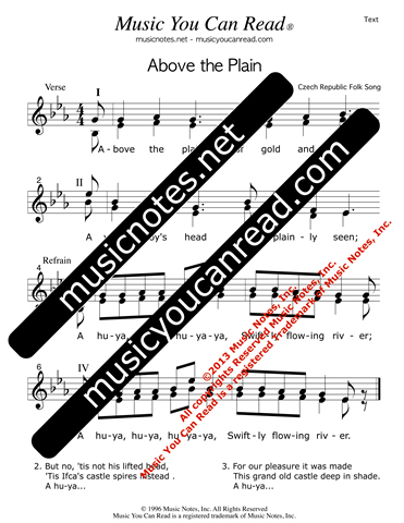 """Above the Plain,"" Lyrics, Text Format"