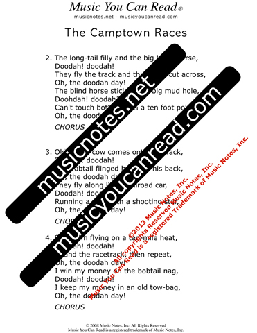 """The Camptown Races,"" Lyrics, Text Format"