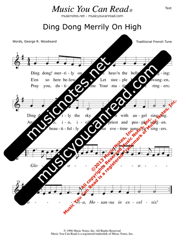 """Ding Dong Merrily On High"" Lyrics, Text Format"