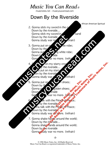 """Down By the Riverside,"" Lyrics, Text Format"