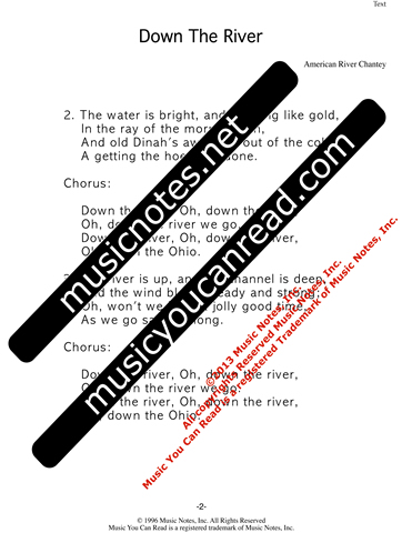 """Down the River,"" Lyrics, Text Format"
