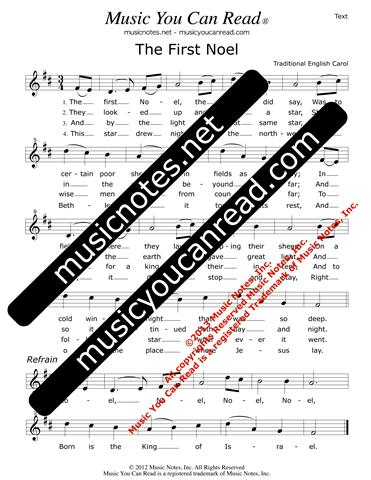the first noel lyrics text format