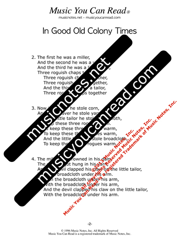 """In Good Old Colony Times,"" Lyrics, Text Format"