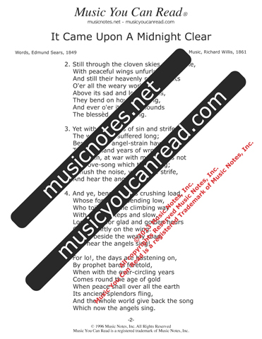 """It Came Upon A Midnight Clear"" Lyrics, Text Format"