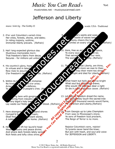 """Jefferson and Liberty"" Lyrics, Text Format"