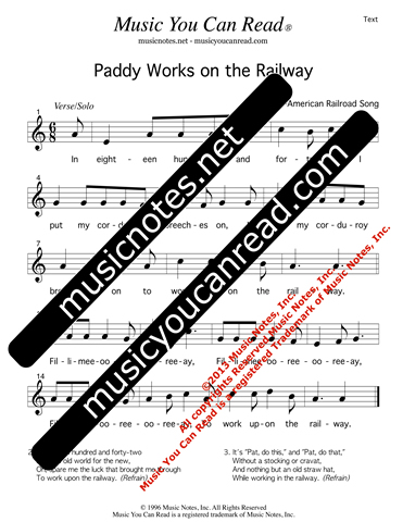 """Paddy Works on the Railway,"" Lyrics, Text Format"