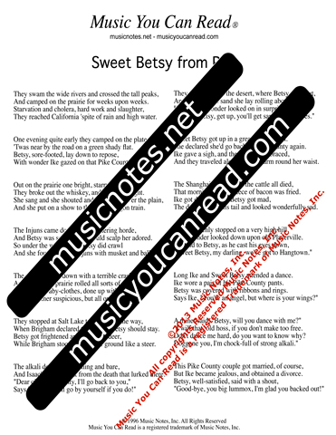 """Sweet Betsy from Pike,"" Lyrics, Text Format"