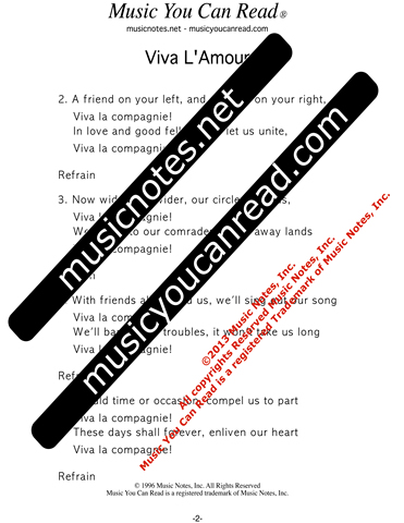 """Viva L'Amour,"" Lyrics, Text Format"