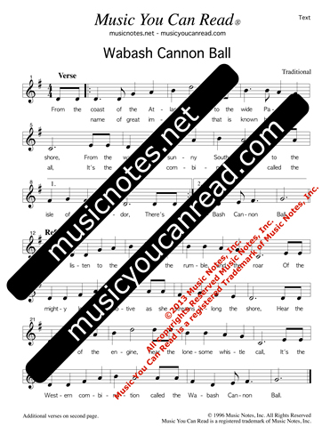 """Wabash Cannon Ball,"" Lyrics, Text Format"