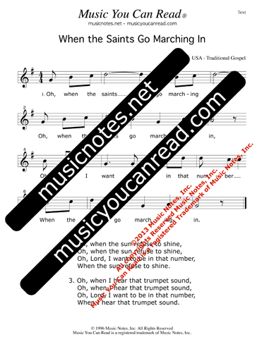 """When the Saints Go Marching In"" Lyrics, Text Format"