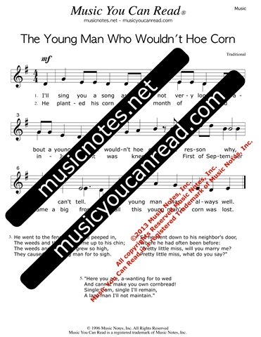 """The Young Man Who Wouldn't Hoe Corn"" Lyrics, Text Format"